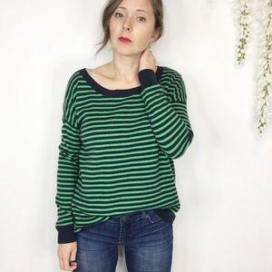 GAP navy & green striped sweater wool blend